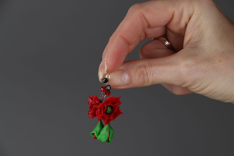Серьги в виде маковых цветков фото 4