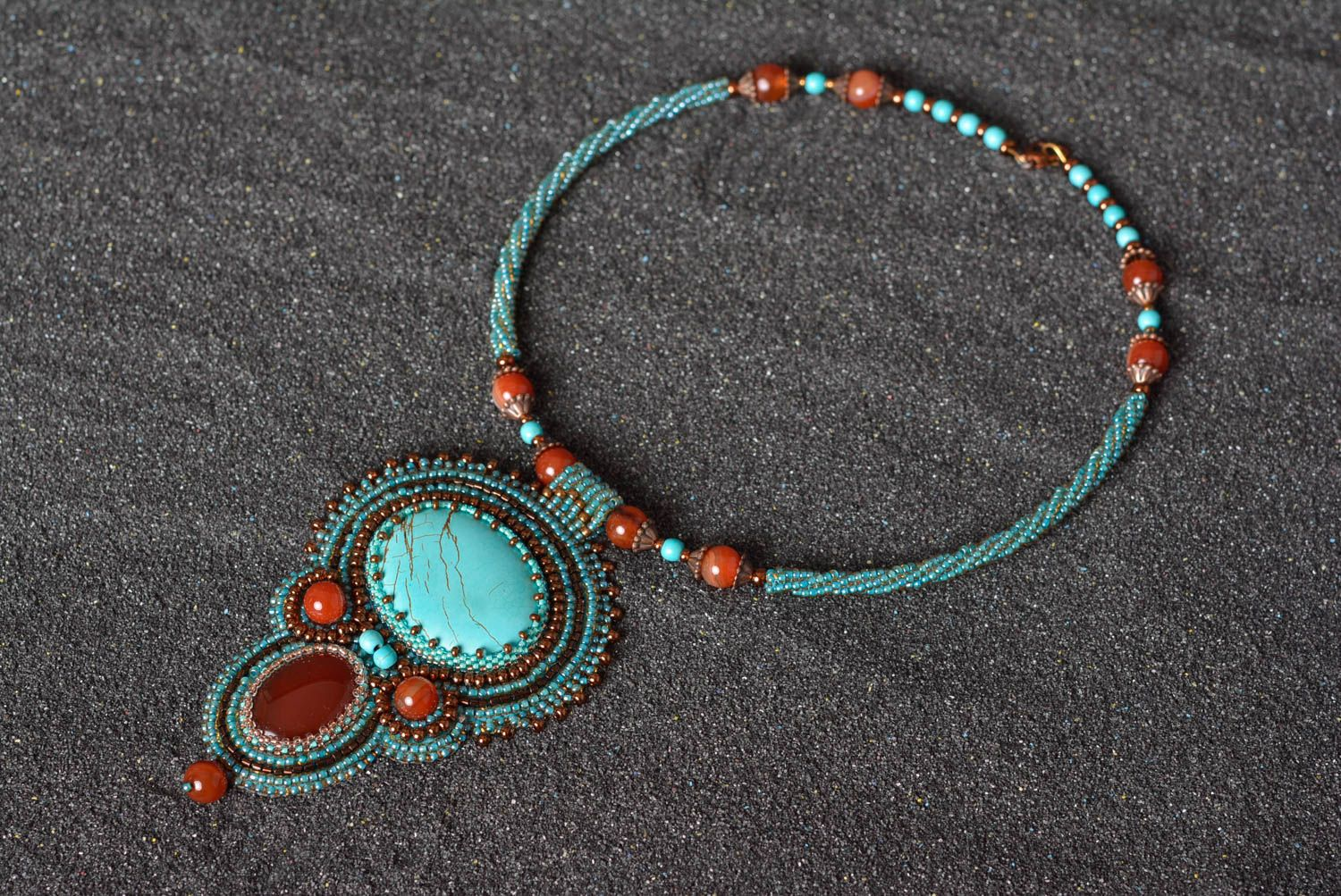 beaded necklaces Elegant unusual necklace handmade stylish accessories beautiful jewelry - MADEheart.com