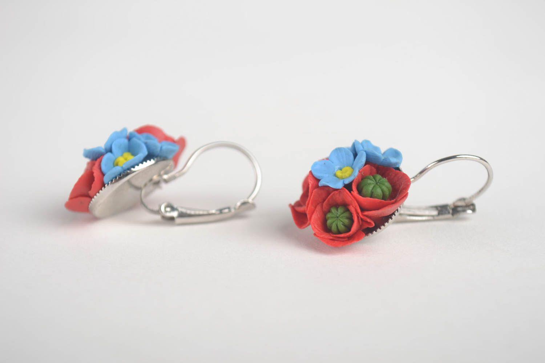 Handmade unique cold porcelain earrings designer bijouterie present for women photo 2