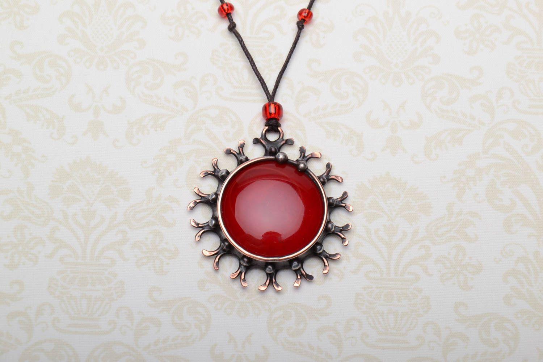 Glass and metal pendant photo 1
