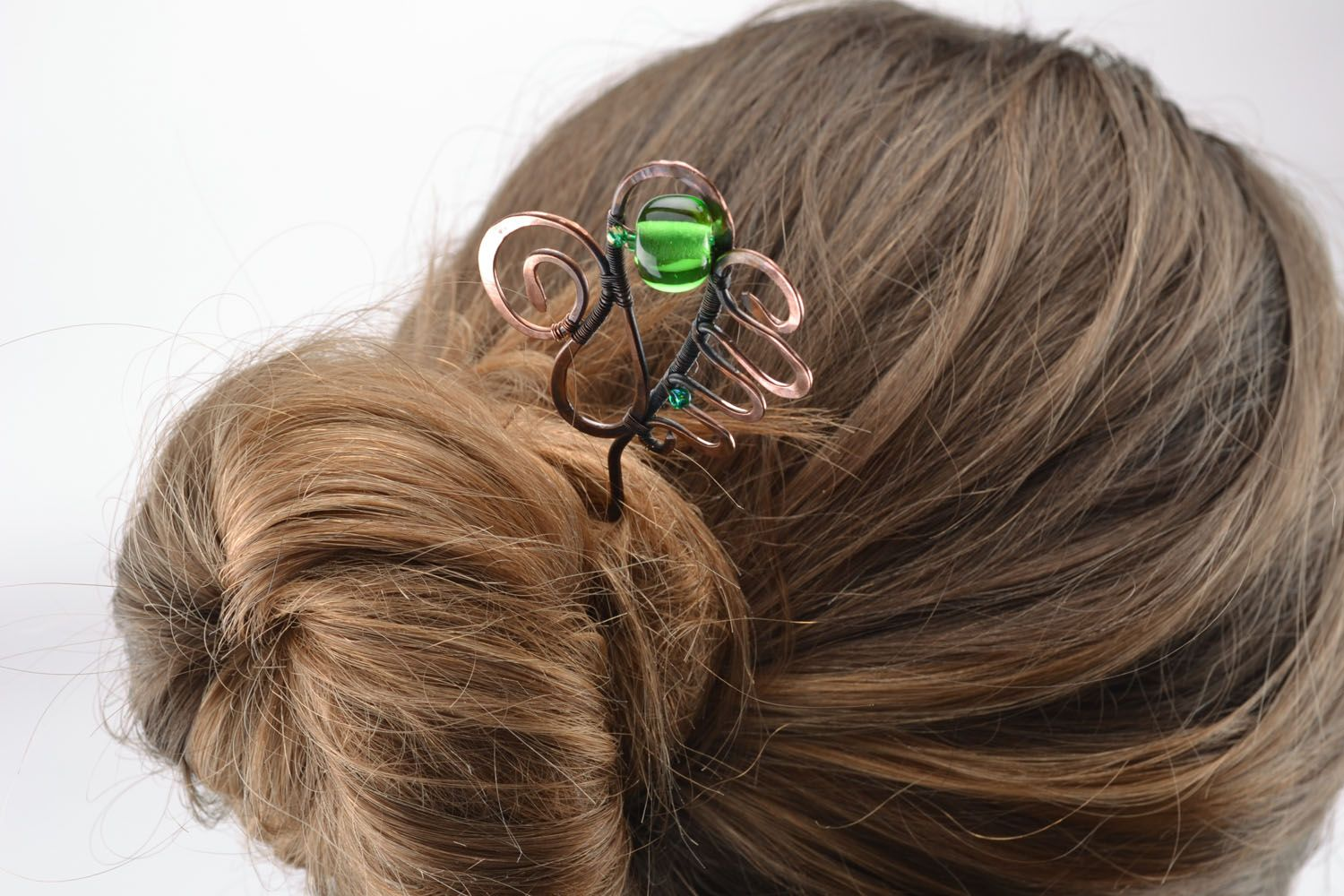Copper wire wrap hairpin photo 5