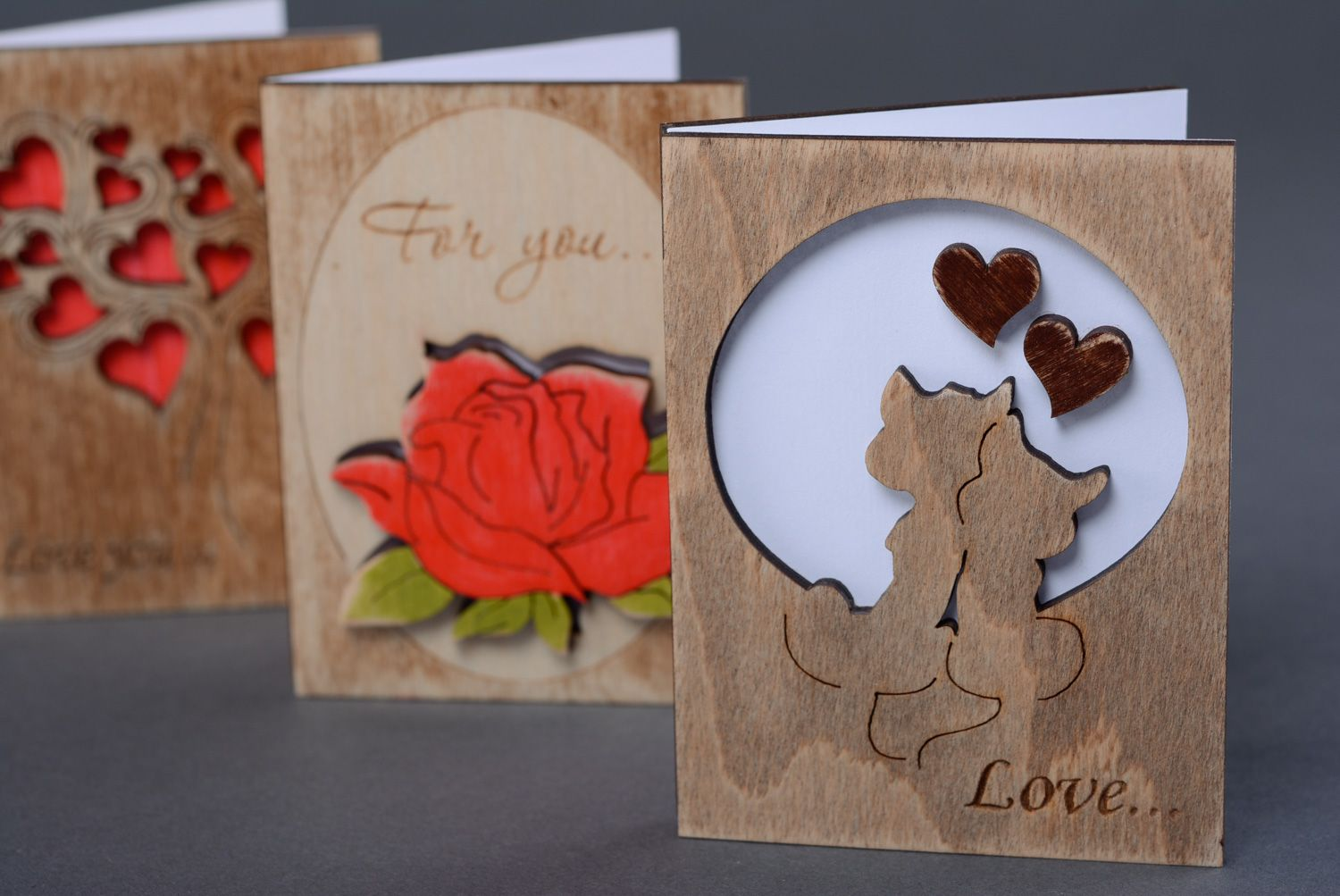 Unusual wooden postcard Love - MADEheart.com