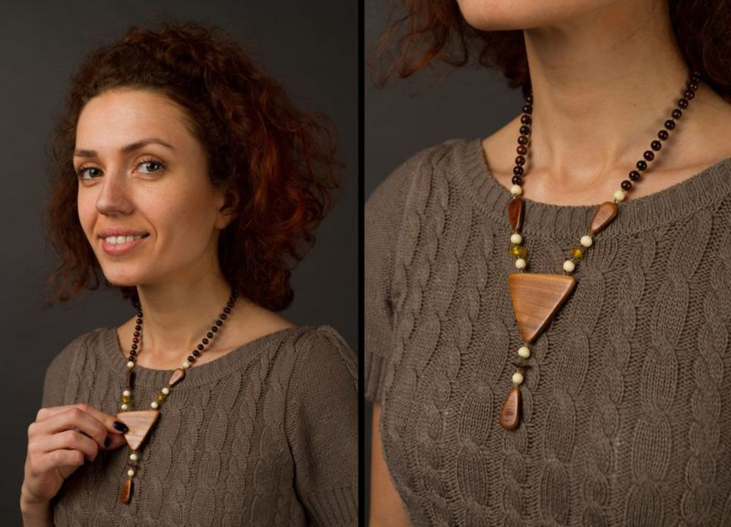 Wooden necklace Triangle photo 2