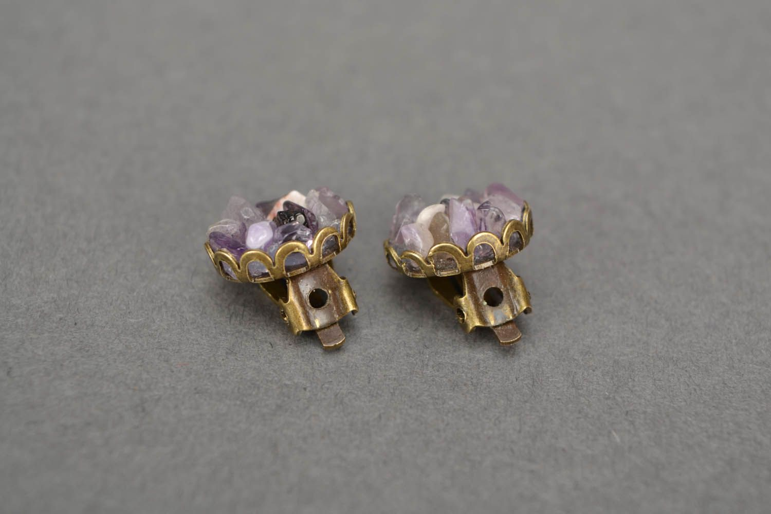 Amethyst clip on earrings photo 3