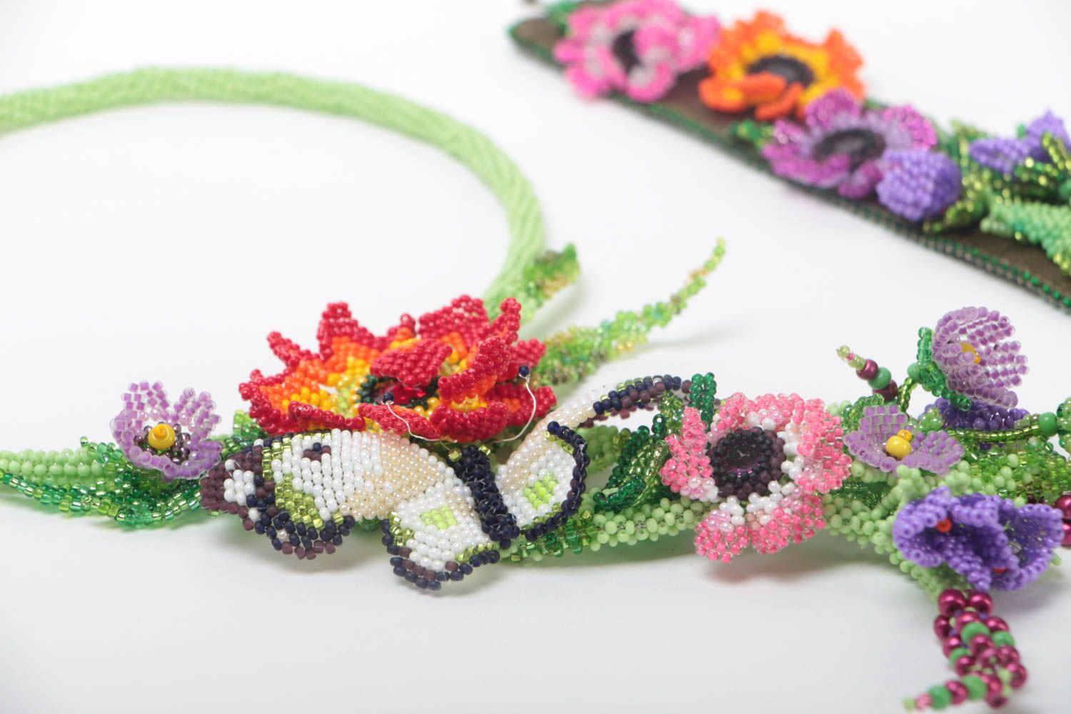 Set of handmade jewelry beaded necklace and bracelet massive flower accessories photo 3