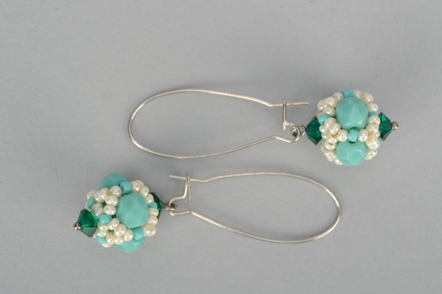 Earrings with Czech beads and glass photo 4