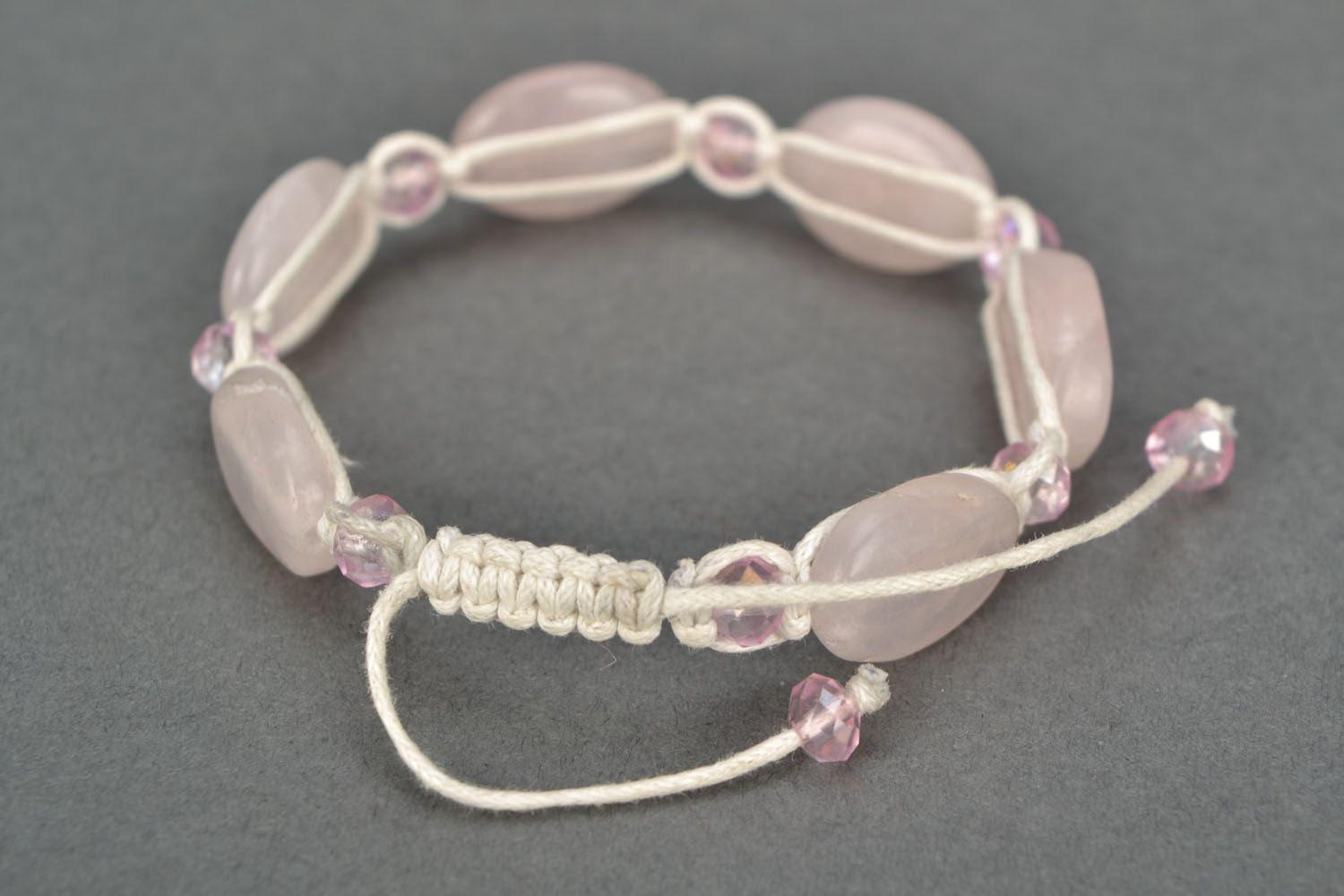 Homemade bracelet with pink quartz photo 4