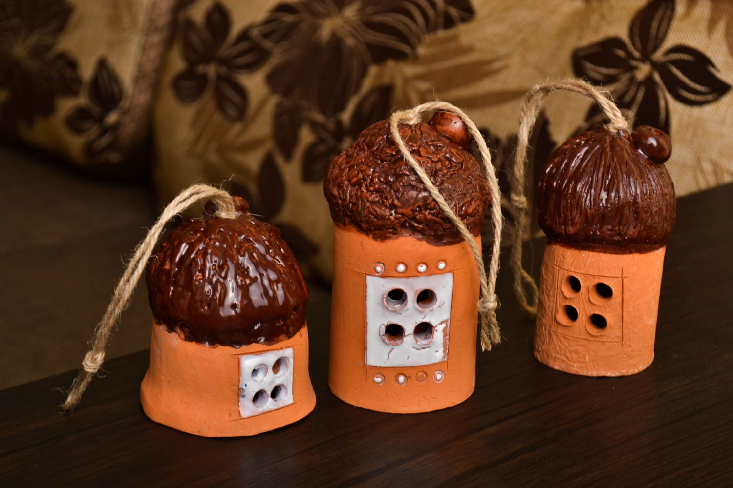 Handmade ceramic bell clay bells 3 pieces sculpture art decorative use only photo 1