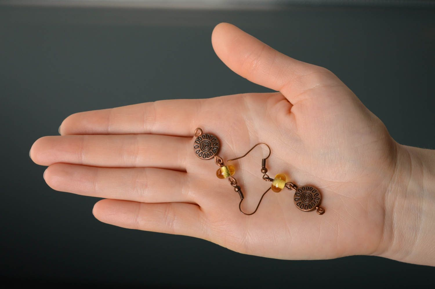 Copper earrings with lampwork beads photo 5