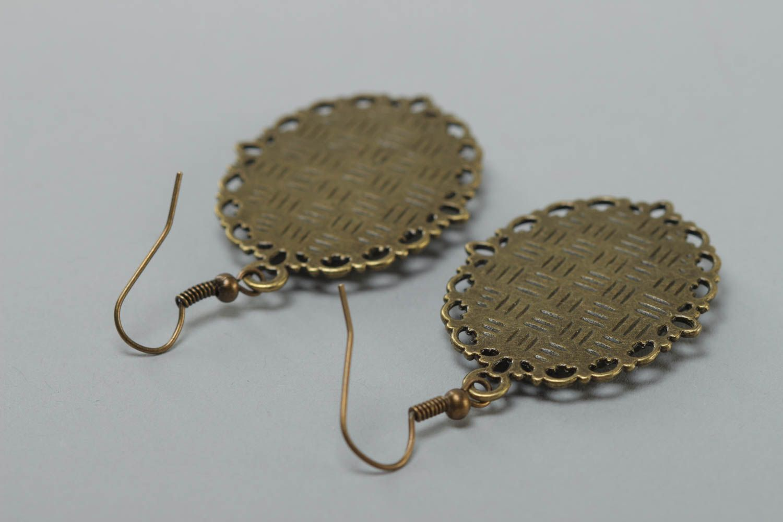 Ovale schöne handmade Ohrringe aus Kaltglasur im Vintage Stil mit Blumen handmade foto 4