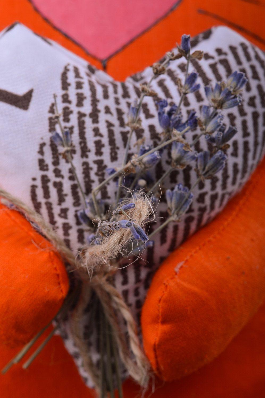 Handmade orange soft pillow with herbs inside Cat photo 3
