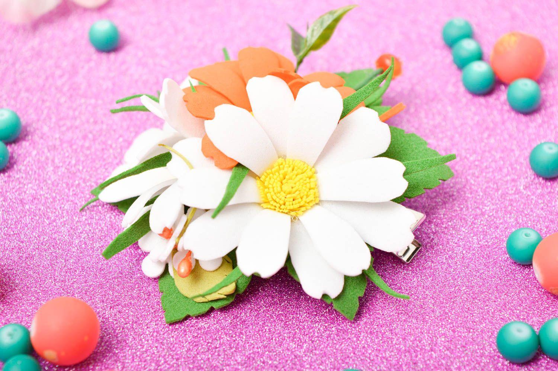Handmade barrette foamiran hair clip flower hair accessories gift for women photo 1