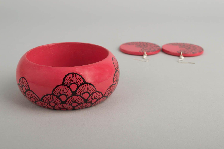 Handmade jewelry set dangling earrings womens bracelet wooden accessories photo 4