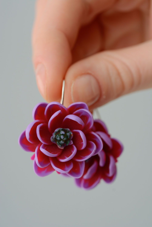 Polymer clay earrings Violet Lotus photo 3