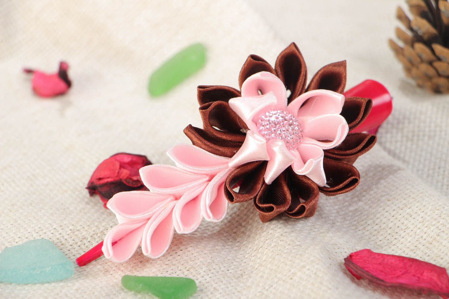Handmade hair clip with satin ribbon kanzashi flower in pink and brown colors photo 1