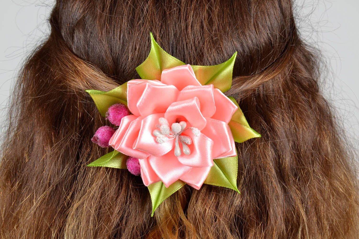 Hair barrette made of ribbons photo 5