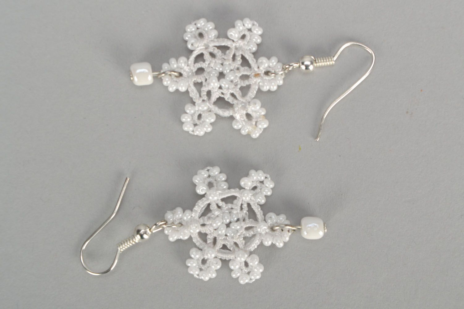 Earrings made using tatting technique Snowflakes photo 3