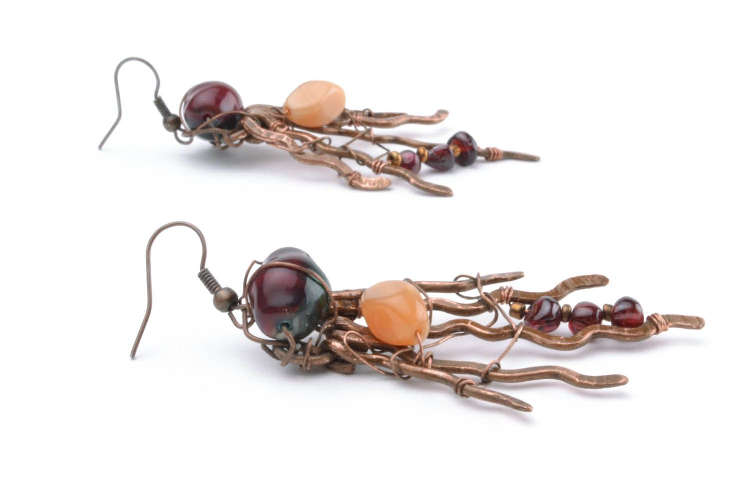 Copper earrings with natural stones photo 1