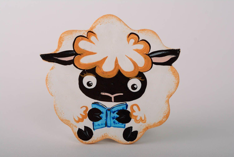 Handmade decorative painted plywood fridge magnet Lamb with book kitchen decor photo 1