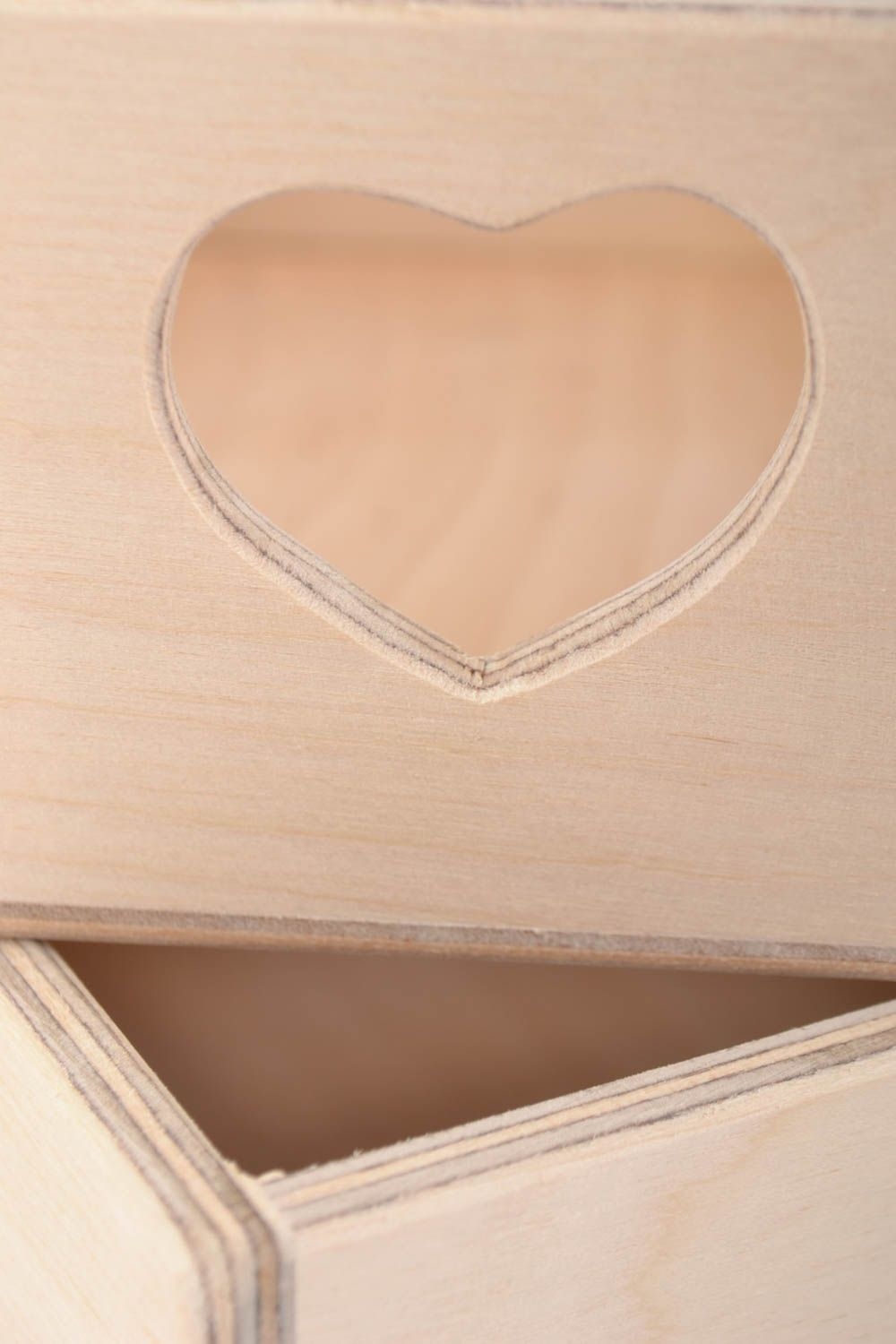 Set of 3 handmade plywood craft blanks DIY boxes with hearts photo 3