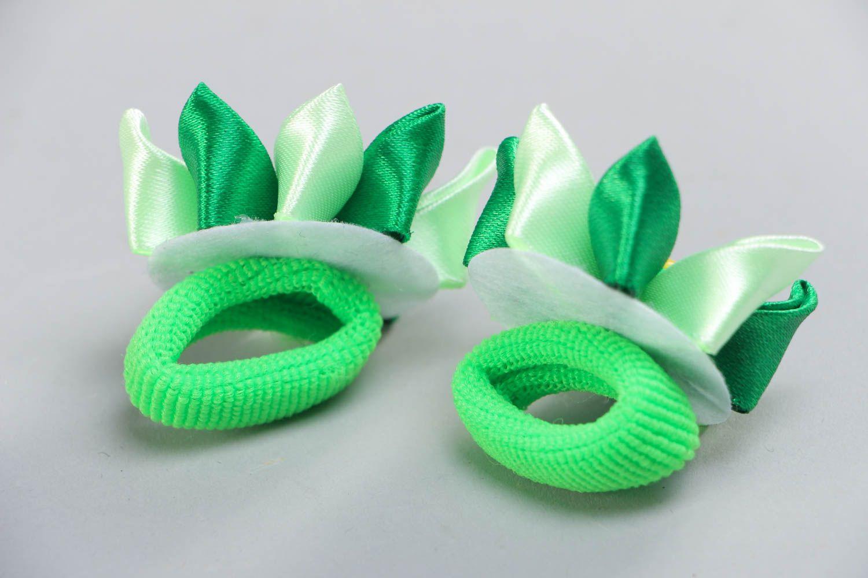 Set of 2 beautiful handmade green fabric flower hair ties kanzashi technique photo 4