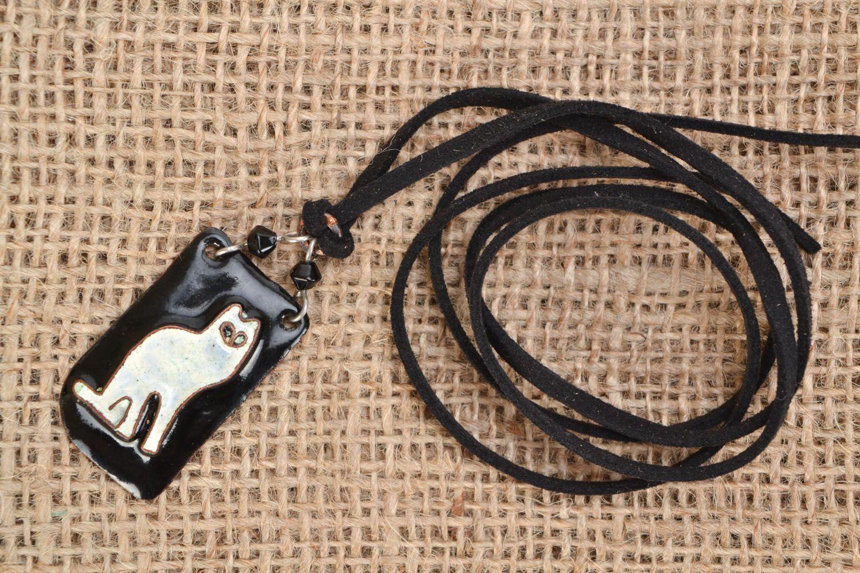 Copper pendant White Cat photo 1