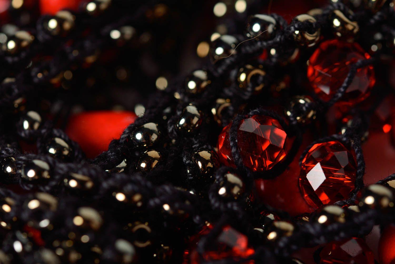 Красивое колье из бусин и бисера типа воздушка черное аксессуар ручной работы фото 2