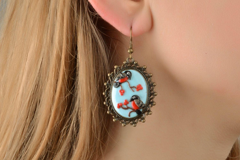 Polymer clay earrings Bullfinches photo 1