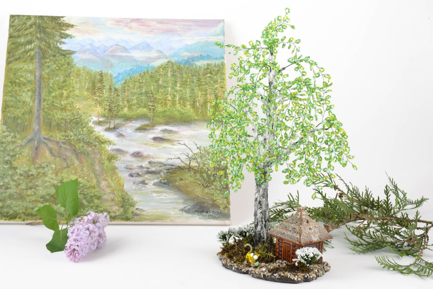 Handmade beaded birch tree on stand with small ceramic house and cat figurine photo 1