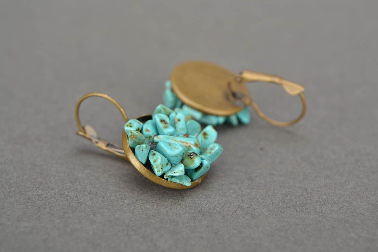 Turquoise round earrings photo 3
