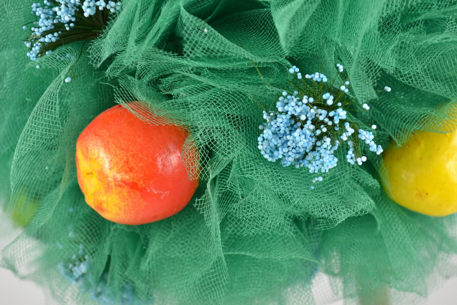 Topiary made of tulle with decorative fruits handmade tree of happiness photo 2