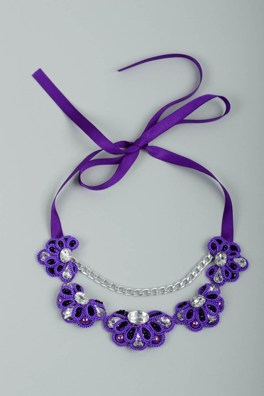 joyería de Tela Collar hecho a mano de encaje frivolité bisutería de moda accesorio para mujeres