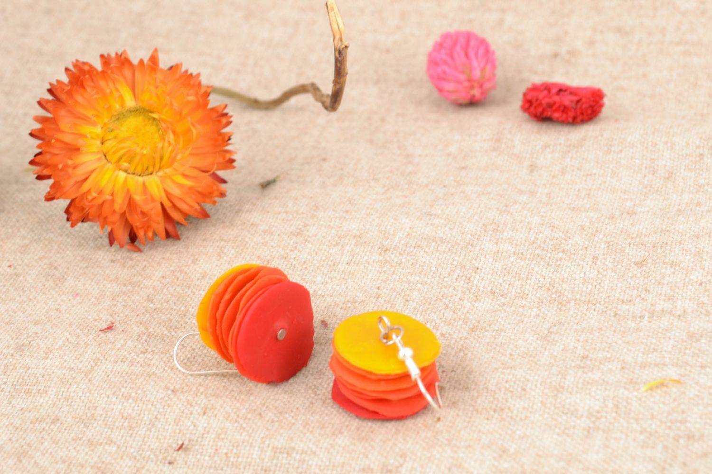 Handmade polymer clay earrings Pieces of the Sun photo 1