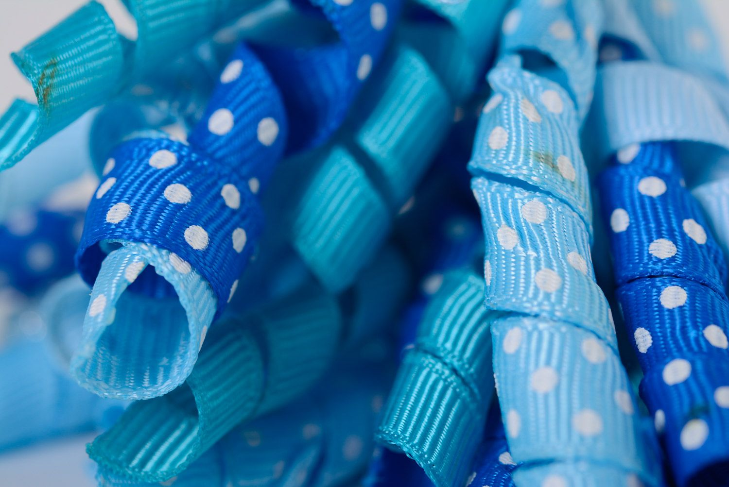 Set of handmade ribbon flower scrunchies of blue color for women and children 2 items photo 4
