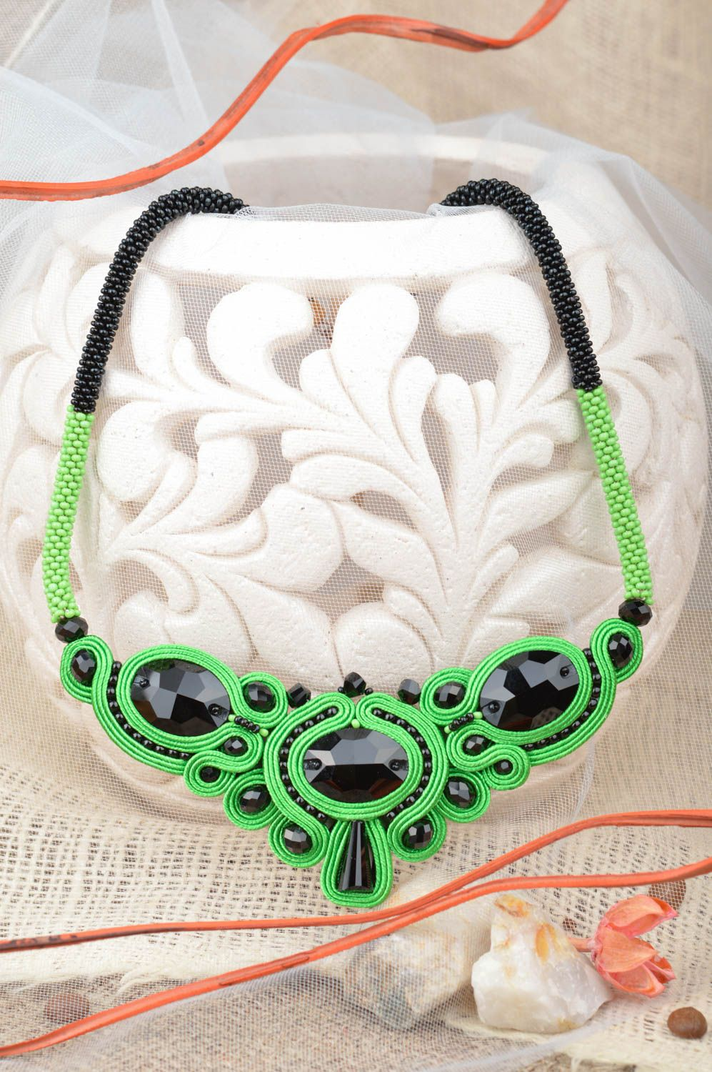 Handmade massive evening green and black soutache necklace with Czech beads photo 1