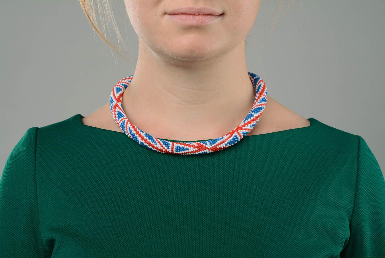 Beaded cord necklace British Flag photo 3