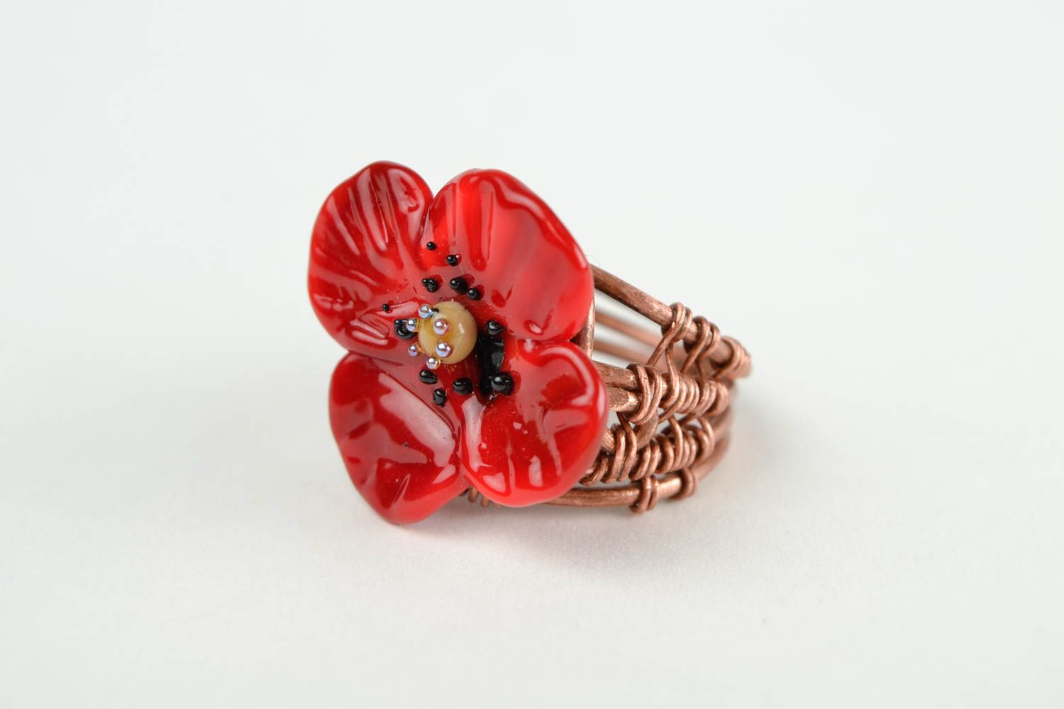 Handmade ring designer accessory gift for her unusual ring with flowers photo 3