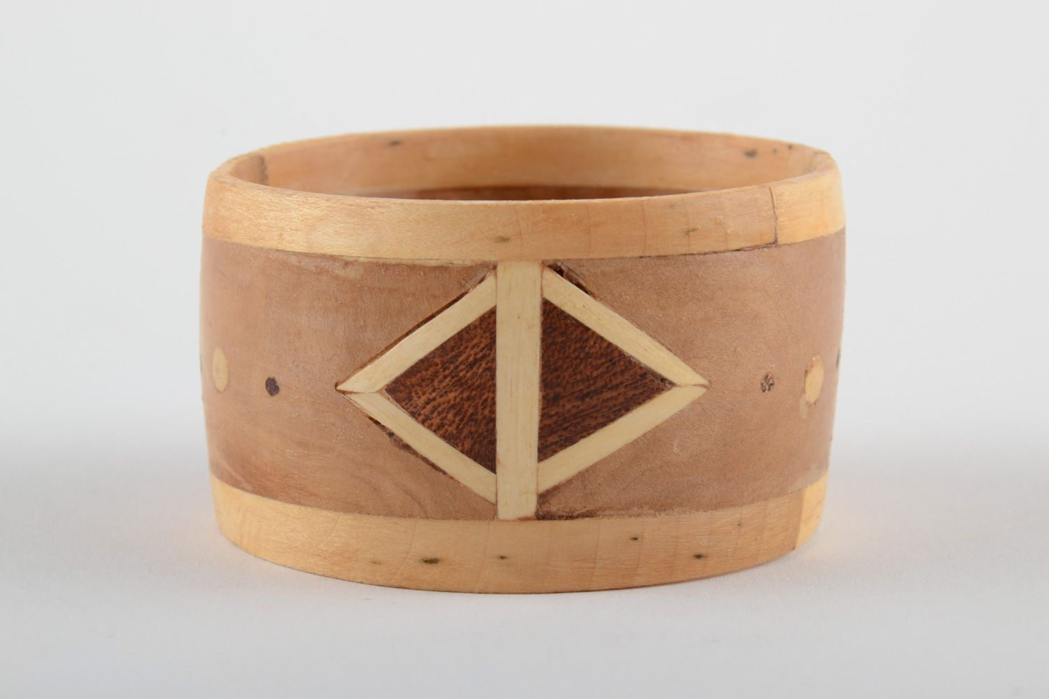 Broad handmade wooden wrist bracelet with geometric ornament with intarsia  photo 3