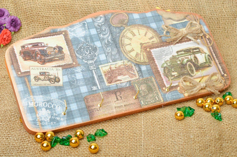 Accroche clés mural Range clés fait main bois Décor intérieur 5 crochets métal photo 1