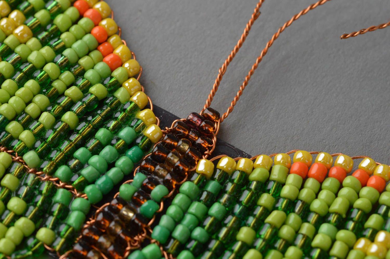 Handmade fridge magnet woven green butterfly made of beads photo 5