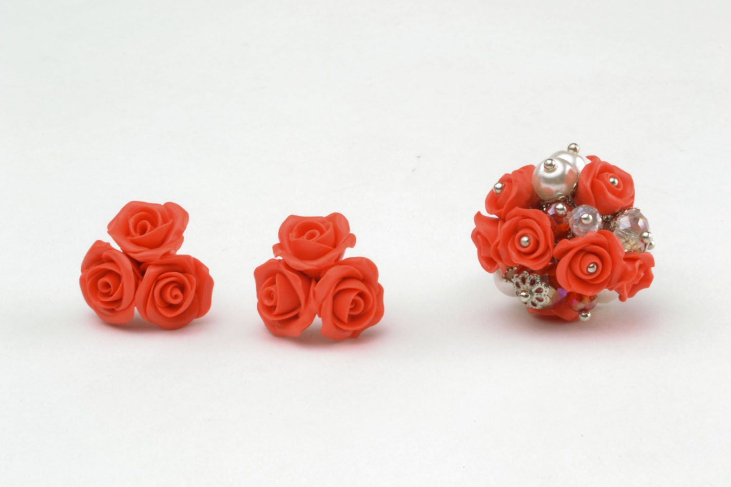 Homemade evening ring and earrings photo 3