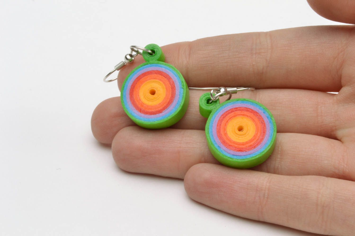 Multicolored paper quilling earrings  photo 2