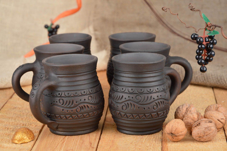 Madeheart juego de tazas de arcilla hechas a mano for Arcilla para ceramica