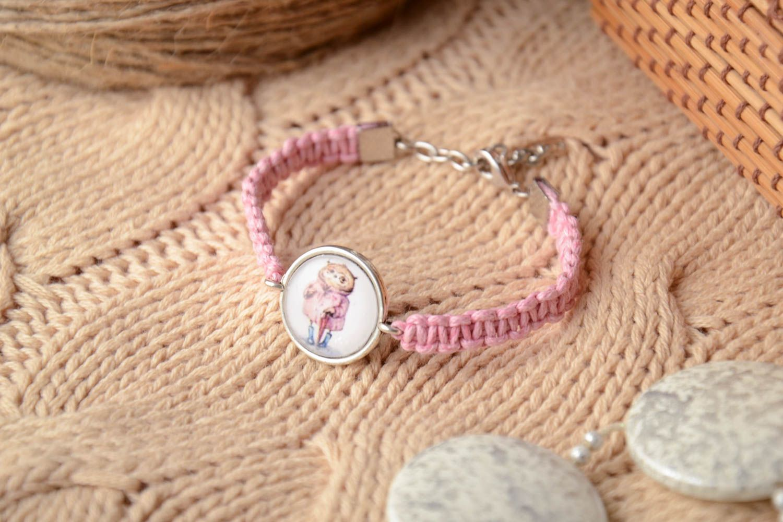Pink woven bracelet photo 1