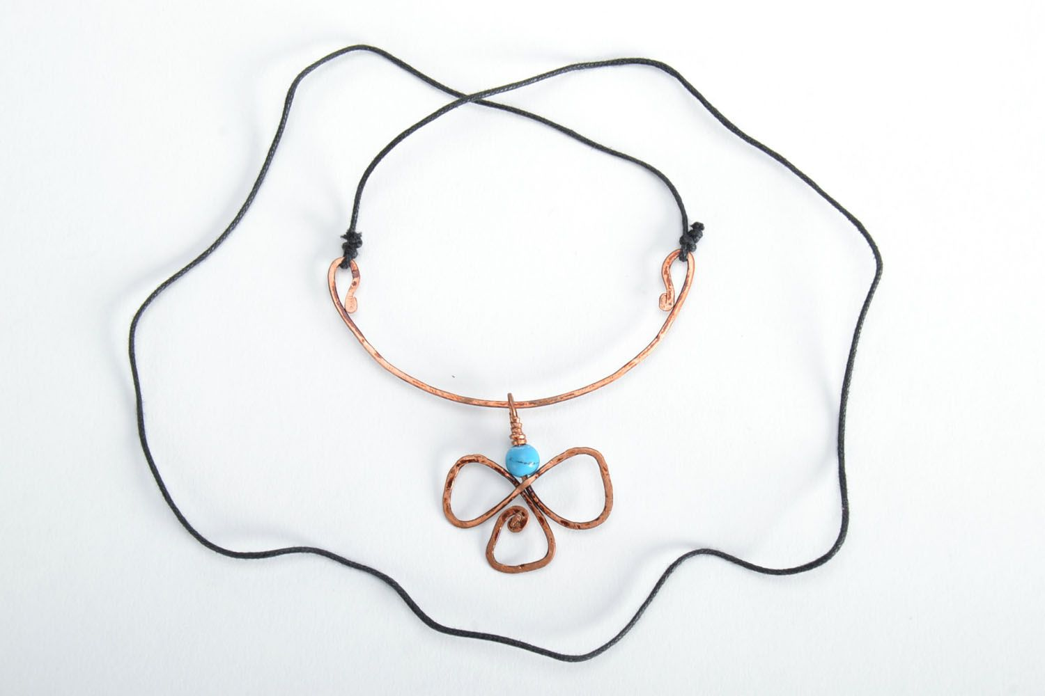 Copper pendant with turquoise photo 5