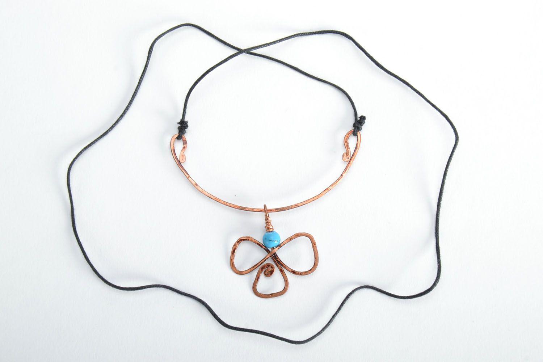 Pendentif en cuivre wire wrapping avec turquoise  photo 5