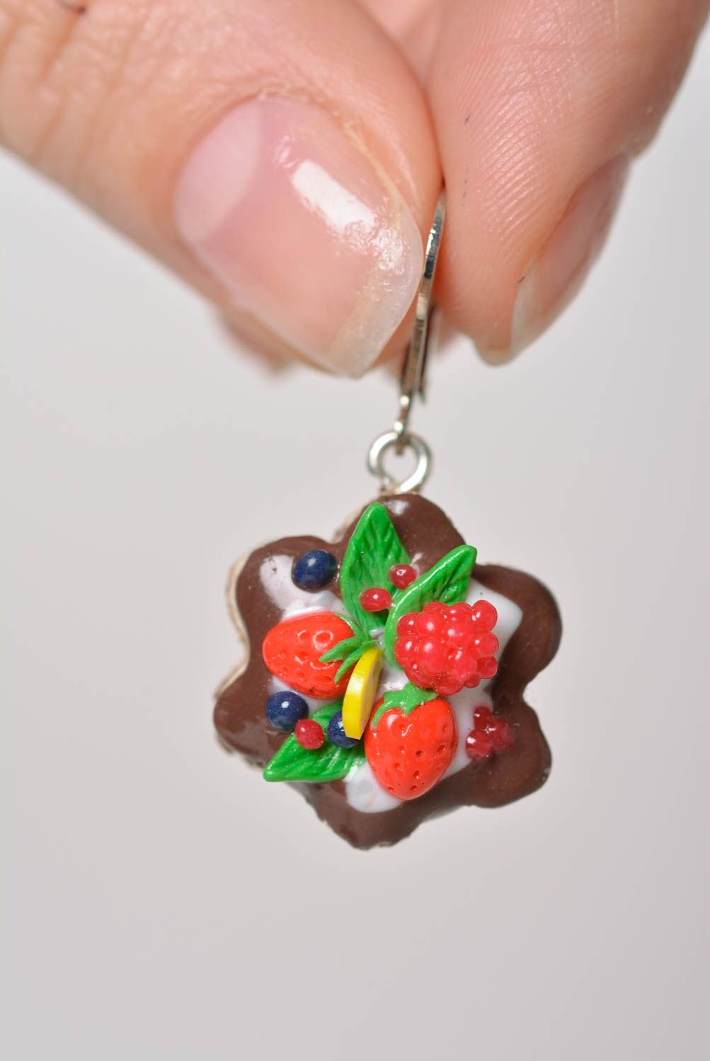 Bright handmade designer polymer clay earrings in the shape of cakes photo 2