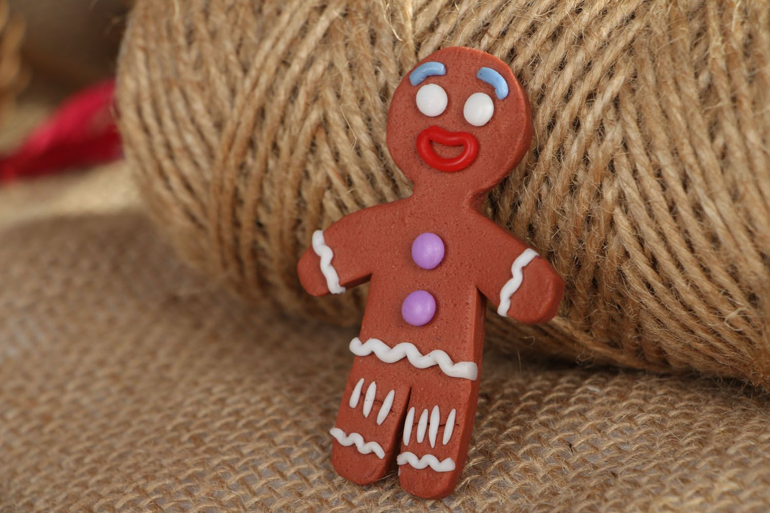 Polymer clay brooch Ginger Man photo 5