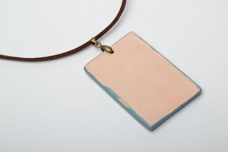 Interesting ceramic pendant on cord photo 3