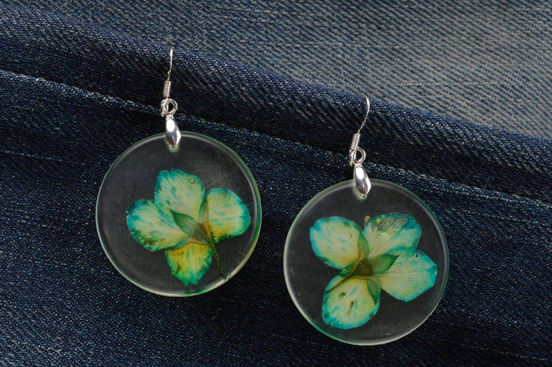 dc69a50bc0ba pendientes de resina epoxi Pendientes hechos a mano con flores secas aretes  originales bisutería fina -